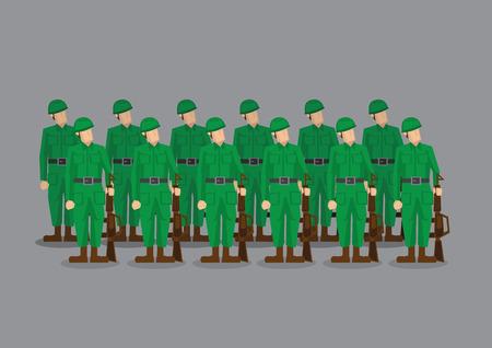 batallón: Pelotón del ejército militar en verde uniforme con ametralladoras en posición de firmes en el desfile.