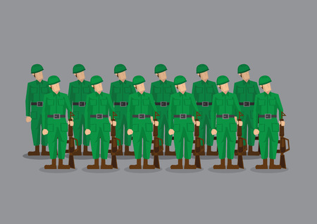 army helmet: Platoon of military army in green uniform holding machine guns standing at attention at parade.