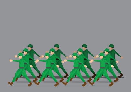 Soldiers in green uniform marching past in military parade. Vector illustration isolated on grey background Vectores