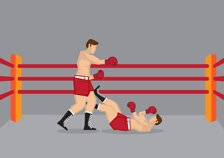 Vector illustration of two boxers in boxing ring and one of them knocked out on the floor.