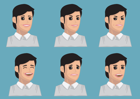 black hair blue eyes: Vector illustration of cartoon woman with facial expressions for different emotions.