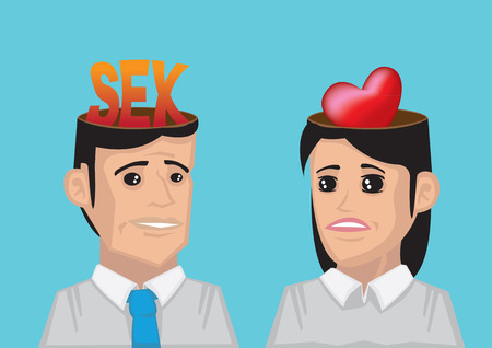 romantic sex: Man with the word sex in his head and woman have a heart representing love in her head. Conceptual vector illustration for different wants and desire between man and woman in relationship. Illustration