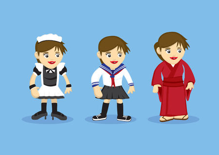 cosplay: Vector illustration of cartoon girls in fancy costumes for French maid, Sailor style school uniform and traditional Japanese kimono.