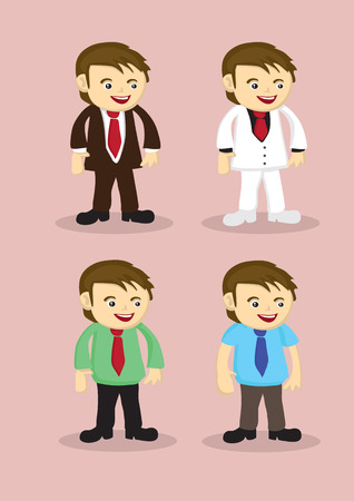 office wear: Set of four businessmen in different work attire isolated on pink background. Illustration