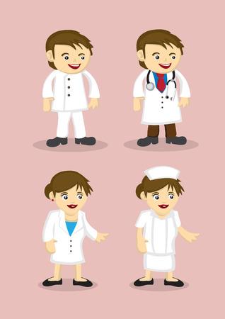 Vector illustration des professionnels de santé dans le style de dessin animé mignon isolé sur fond rose. Vecteurs