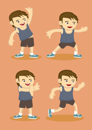 action sports: Vector illustration of a young boy in sports attire doing simple warm-up stretching exercises isolated on orange background