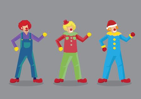 nariz roja: ilustraci�n vectorial de divertidos payasos con la nariz roja en tres juegos de multi-color de los trajes extra�os y calzado aislados sobre fondo gris.