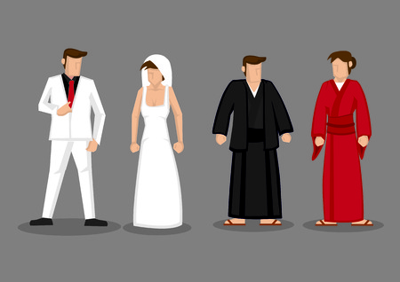 japanese kimono: Vector illustration of couple in traditional Japanese kimono and western style wedding costume of white suit for groom and white wedding dress with veil for bride