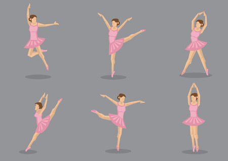tutu: Set of six ballerina dancing in pink tutu. Vector icons isolated on grey background.