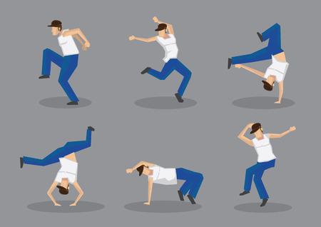 baile hip hop: Conjunto de seis bailarines de hip hop hombres en movimientos geniales de baile calle. Los iconos del vector aislados sobre fondo gris.