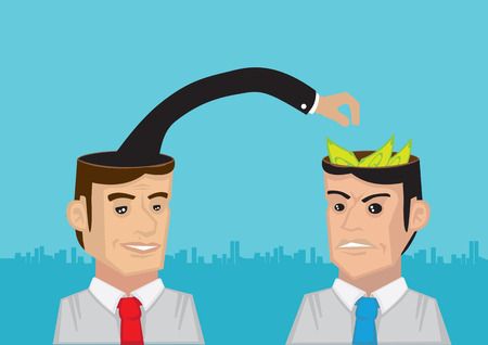 trying: One man with arm from his head trying to take the money in another mans head. Concept for stealing profitable ideas.