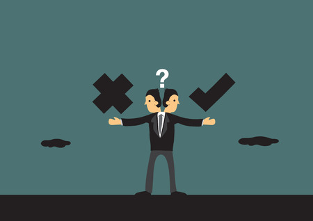 responsibility: Businessman in dilemma choosing between right and wrong path. Metaphor vector illustration for business ethics in cartoon style.