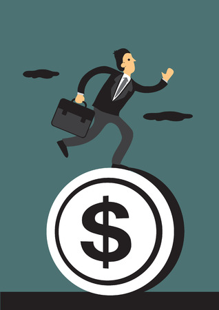 rat race: Vector illustration of a businessman carrying work briefcase running on a round dollar symbol