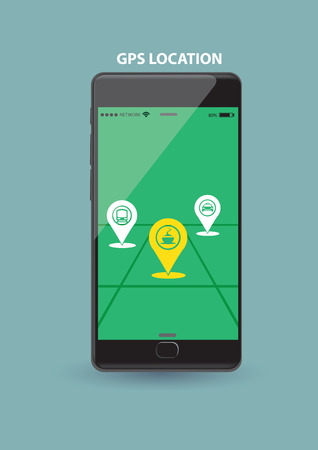 touch screen phone: Vector illustration of a smart wireless mobile phone showing GPS application on touch screen.