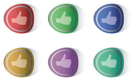 thumbsup: Vector illustration of thumbs-up round stickers in six different colors isolated on white background Illustration