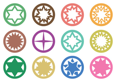 Vector illustration of star in circle symbols graphic design isolated on white background