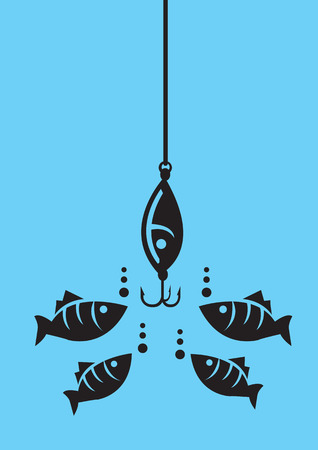 hesitate: Drawing of fishes attracted to fishing bait with hooks under water. Minimalist style vector illustration in black isolated on blue background