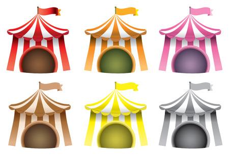 circo: Conjunto de ilustraci�n vectorial de seis tiendas de campa�a de carnaval usados ??t�picamente para circo aislados sobre fondo blanco.
