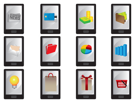 newsfeed: Collection of vector illustration of wireless smart mobile phone with business icons displayed on screen isolated on white. Illustration