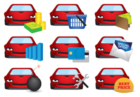 bomb price: Vector illustration of bright red car with business symbols for automobile industry. Icon set isolated on white background.