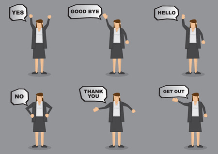 wave hello: Businesswoman with different messages in speech bubbles. Vector icon set isolated on grey background