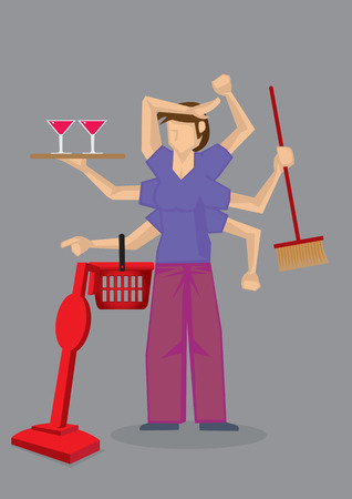 wash hand stand: Vector illustration of a busy woman with many arms doing different house chores at the same time. Illustration