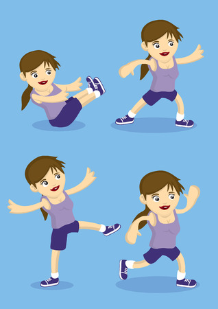 trabalhar fora: Vector illustration of cute sporty cartoon girl doing work out and simple exercises isolated on blue background. Ilustra��o