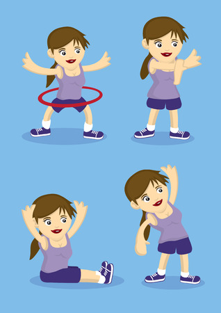 crossed out: Sporty cartoon girl doing warm up and stretching exercises. Vector illustration for healthy lifestyle.