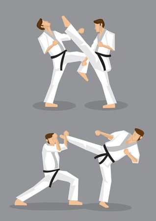 Vector illustration of full body karate black belt male fighter doing high kicks in karate training. Vector