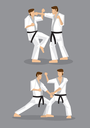 Drawing of martial arts practitioners pulling punches during sparring practice. Two set of vector drawings isolated on grey background, applicable to Japanese karate and Korean taekwondo. Vector