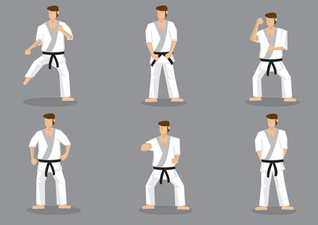 kick out: Set of six vector icons of full body cartoon man practicing basic karate moves isolated on grey background.