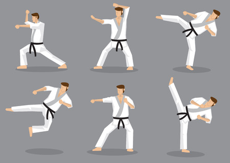 Set of six vector icons of full body cartoon man doing powerful kicks and punches isolated on grey background. Applicable to Karate and Taekwondo. Illustration