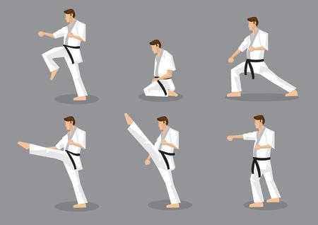 Ensemble de six icônes vectorielles de pleine homme corps dessin animé en vue de côté arts de la scène se déplace martiaux isolé sur fond gris. Applicable à Karaté et Taekwondo. Vecteurs
