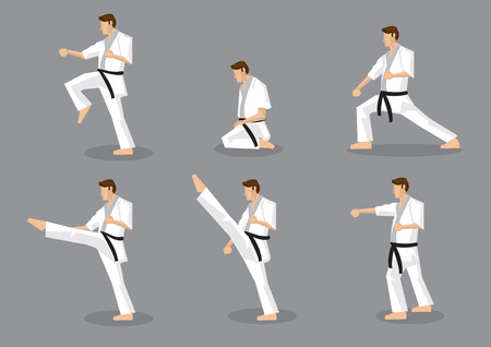 arts: Set of six vector icons of full body cartoon man in side view performing martial arts moves isolated on grey background. Applicable to Karate and Taekwondo. Illustration