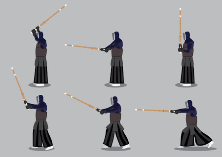swordsmanship: Set of six vector icon man in profile view practicing kendo, a modern Japanese martial art that uses bamboo sword.