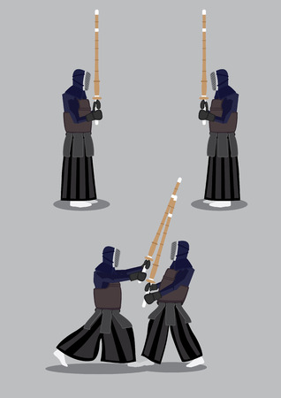 swordsmanship: Vector Illustration of two people in black protective armor and helmet holding bamboo sword in kendo sparring. First, they stand facing each other getting ready, then they step out to strike an attack.