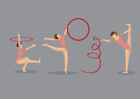 squat: Gymnast girl in pink leotard doing graceful gymnastics floor exercise with props, ribbon and hoop. Set of three vector icons isolated on grey background