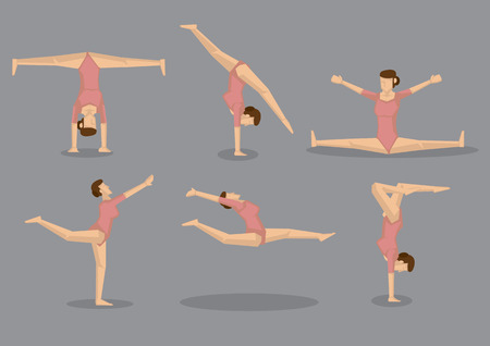 flexibility: Set of six cartoon woman with great flexibility doing floor gymnastic exercises. Vector icons isolated on grey background