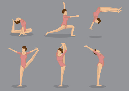 Set of six woman in pink leotard doing gymnastic exercises to increase flexibility. Vector icons isolated on grey background