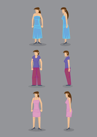 pony tail: Modern woman wearing party dress, casual street wear and comfortable home clothes, in frontal and profile view. Set of six vector icons isolated on grey background. Illustration