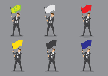 signal pole: Vector illustration of businessman in suit and necktie carrying blank color flag with copy space. Set of six cartoon character isolated on grey background