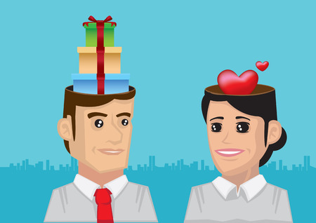 telepathy: Vector illustration of gifts in the head of man and love in the head of woman. Illustration