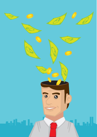 day dreaming: Vector illustration of cartoon man day dreaming about money and cash flying into his head. Concept for dreams to get rich. Illustration