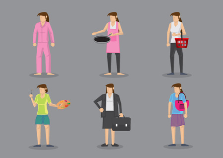 Woman wearing different outfits for different roles. Set of six vector illustration in cartoon style isolated on grey background. Vector