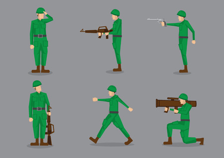Set of six vector illustration of army man or soldier in green uniform in different poses isolated on grey background