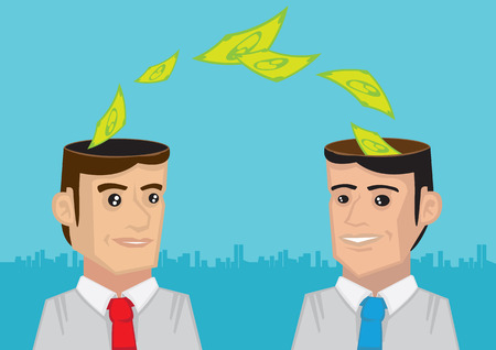 thinking link: Vector illustration of dollar notes flowing from head of a businessmen to another businessman. Concept for exchange of business ideas and collaboration.