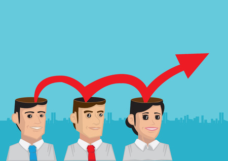 bouncing: Cartoon vector illustration of red arrow bouncing off the heads of business executives. Concept for business growth and progress with increasing productivity and human resource.