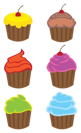 cartoon ice cream: Vector illustration of colorful cupcakes of different flavors in cartoon style isolated on white background. Illustration