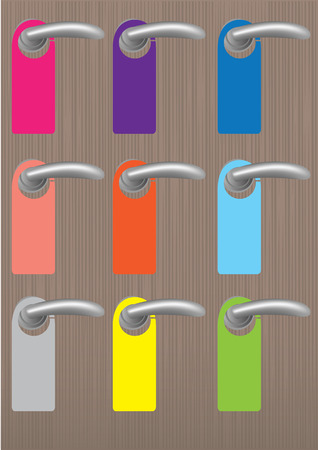 knobs: Set of blank colorful door hangers with copy space on door knobs on wooden texture background. vector illustration. Illustration