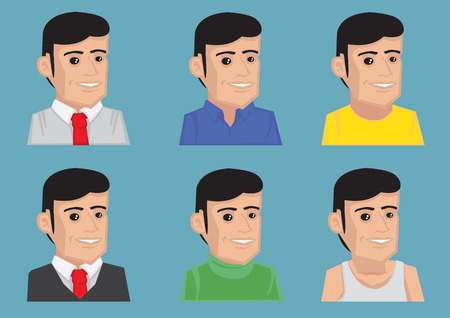 sideburn: Set of vector illustration of cartoon man in different tops for men fashion isolated on blue background
